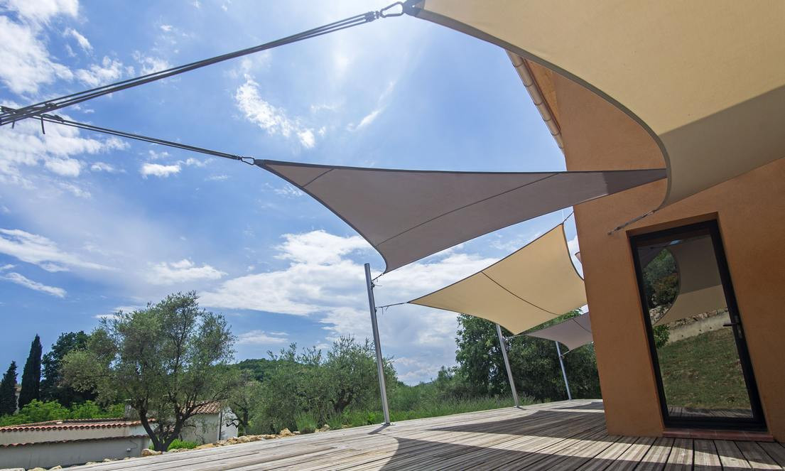 Shade sails on southern house